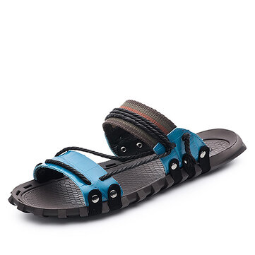 Men Breathable Hand Stitching Stylish Slippers Beach Shoes