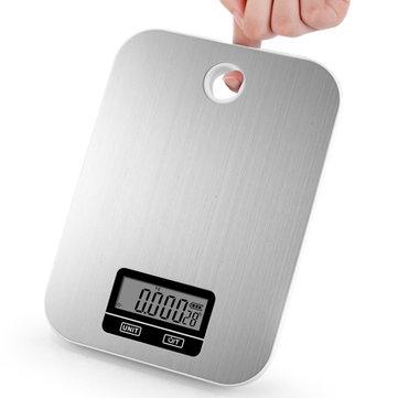 Minleaf ML-KS2 Kitchen Scale 5 كجم / 1G غير القابل للصدأ الصلب LCD عرض مطبخ مقياس الالكترونية