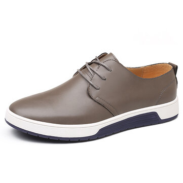 Men Soft Leather Casual Lace Up Round Toe Business Office Flat Oxfords