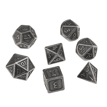 7Pcs Antique Color Solid Metal Heavy Dice Set Polyhedral Dices Role Playing Games Dice Gadget RPG