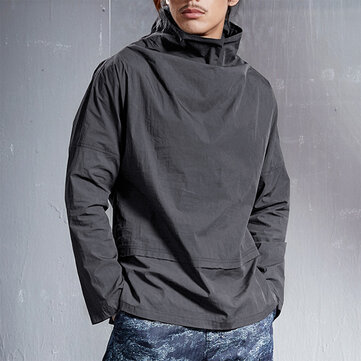 Mens Casual High Collar Fit Solid Color Long Sleeve T-shirts