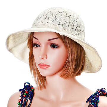 Women Foldable Breathable Sun Hat Hollow Bow-knot Fisherman Hat Outdoor Sunscreen Visor Hat