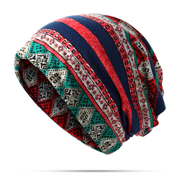 Mulheres Priting Cotton Beanie Chapéu Double-Use Collar Scarf And Warm Caveira Chapéu
