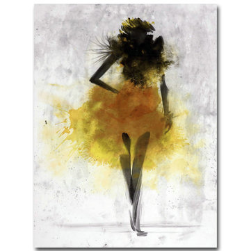 Fashion Yellow Girl Minimalist Abstract Art Canvas Oil Print Paintings Framed/Unframed