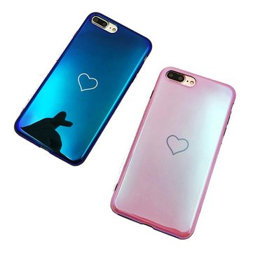 Blue Ray Laser Mirror Love Heart Soft TPU beschermhoes voor iPhone X/7/8 Plus/6 / 6s Plus