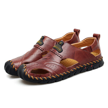 Menico Comfy Hand Stitching Genuine leather Anti-Collision Toe Outdoor Sandals