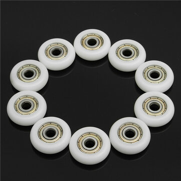 10pcs 5*23*7mm Nylon Plastic Carbon Steel Bearings Pulley Wheels Embedded Groove Ball Bearings