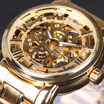 028 Full Steel Strap Men Watch Skeleton Self-Wind Mecânico Relógio de pulso