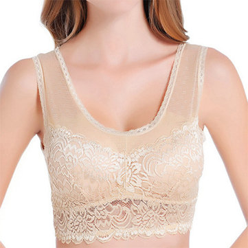 Lace-trim Embroidery Modal Wireless Solid Color Sleep Breathable Bando Bra