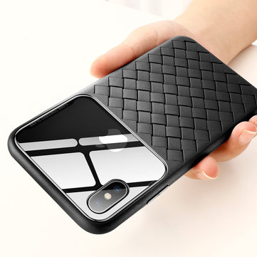 Baseus Protective Case For iPhone XS Max Scratch Resistant Tempered Glass Woven TPU Back Cover