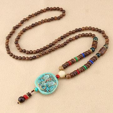 Ethnic Blue Beads Necklace Long-Style Retro Pendant Necklace For Women Men