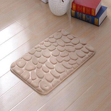 KCASA Colorful 3D Seixos Piso Tapete De Banho Tapete de Banho de Borracha Absorvente Natural de Algodão Inferior Rebote Mat