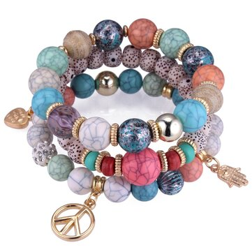 Ethnic Multi-Layer Beaded Bracelet Colorful Natural Stone Alloy Pendant Bracelet For Women