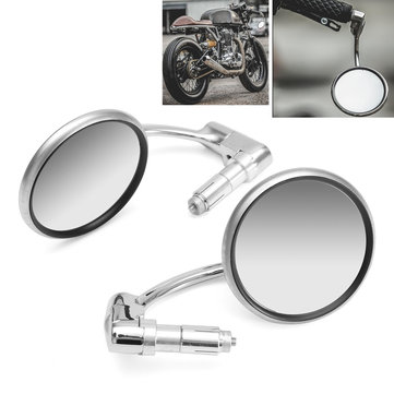 7/8inch Motorcycle Handlebar End View Metal Mirrors 360° Rotation Cafe Racer Chrome