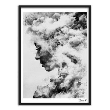 Menina moderna Retrato Smoky Tela de pintura Art Poster Pintura Wall Decorações para a Casa Imagem