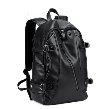 MK Men Faux Leather Fashion Leisure Backpack USB Charging Travel Bag