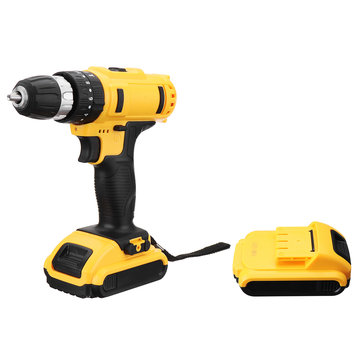 21V Cordless Drill Driver 18+3 Torque Multi-functional Household Electric Screwdriver W/ 2X 1500mAh Li-ion Battery