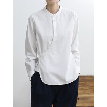 Chinese Style Solid Color Stand Collar Irregular Cotton Blouse