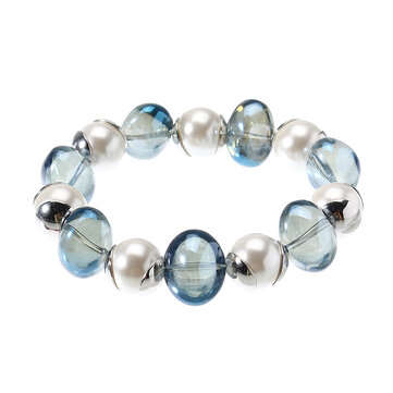 JASSY® Pearl Bead Bracelet Anallergic Platinum Plated Colored Glaze Elastic Bracelet for Women