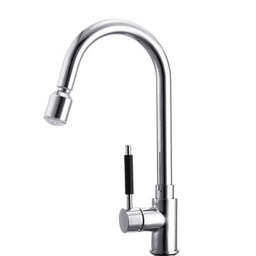 Kitchen Basin Sink Pull Out Faucet Swivel Spout Spray Hot&Cold Water Mixer Tap with LED light