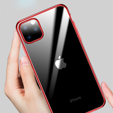 Cafele Plating Ultra-thin Shockproof Translucent Soft TPU Protective Case for iPhone 11 Pro 5.8 inch