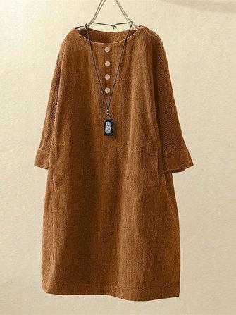 Kadife mürettebat Boyun uzun kollu düğme nedensel Elbise