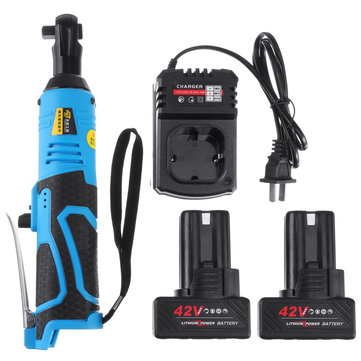 "42V 90N.m 3/8"" Cordless Electric Ratchet Wrench Tool 2 x Battery & Charger Kit"