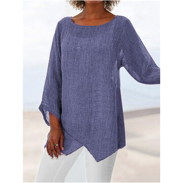 Vintage Solid Color Asymmetrical 3/4 Sleeve Shirts