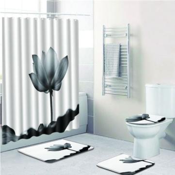 Flower Водонепроницаемы Занавеска для душа Ванная комната Коврики для унитазов