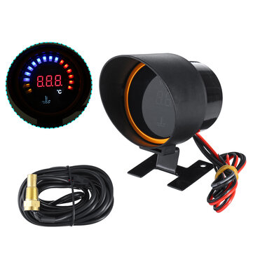 52mm Digital Car  LED Electronic Water Temperature Gauge +Shading Plate