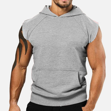 Men's Casual Sports Hooded Solid Color Sleeveless Pullover T-Shirts