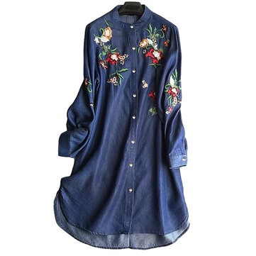 Women Embroidery Loose Turn-Down Collar Long Sleeve T-Shirts