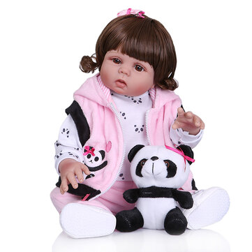 48cm Soft Cloth Body Realistic Reborn Baby Girl With Panda Clothes Kid's Toys Silicone Baby