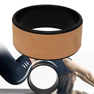 KALOAD 13in Yoga Wheel Natural Roller Cork Backbend Stretch 240KG Weight Bearing Fitness Yoga Rings