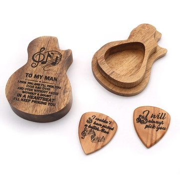 Wooden Guitar Pick Box Holder Collector with 2 PCS Wood Picks Guitar Picks Guitar Accessories