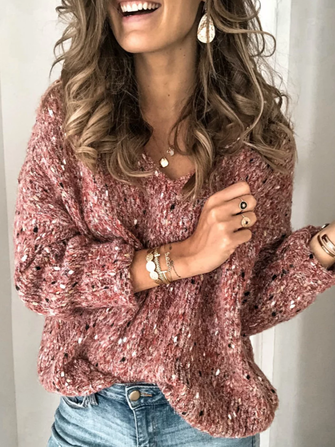 Casual Women V-Neck Long Sleeve Sweaters