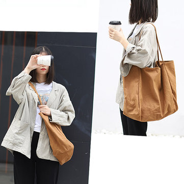 Women Canvas Vintage Pure Color Crossbody Bag Shoulder Bag for Shopping Outdoor