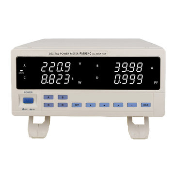 PM9840 Bench TRMS AC Voltage Current Power Meter High-power Electric Type 600V 40A