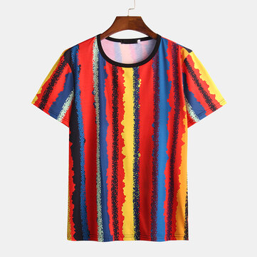 Men Round Neck Color Strip Printing Casual Short Sleeve T-shirts