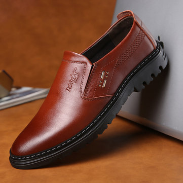Men Soft Cowhide Casual Business Formal Leather Oxfords
