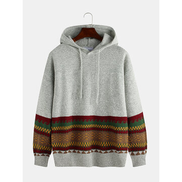 Mens Autumn Casual National Style Print Solid Color Long Sleeve Pullover Knitted Hoodie Sweaters