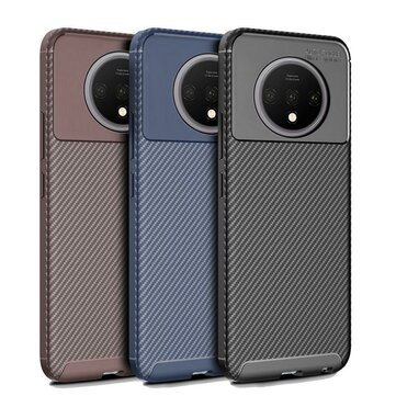For OnePlus 7T Bakeey Luxury Carbon Fiber Shockproof Anti-fingerprint Silicone Protective Case