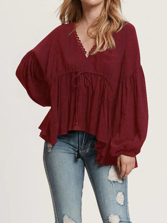 Women V Neck Long Sleeve Solid Ruffle Loose Shirt Blouse