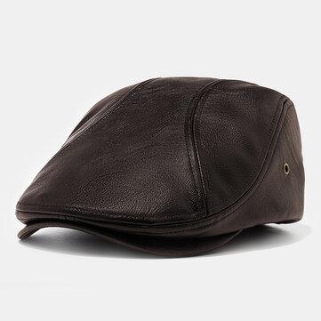 Herren Kunstleder Baskenmütze Caps Casual Zeitungsjunge Cap mit Löchern für Belüftung Lvy Hats
