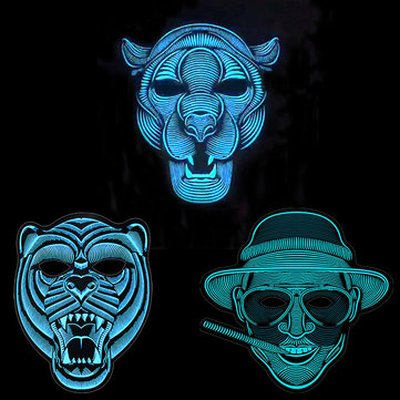 Halloween Cool Sound Voice Control LED Light Up Glowing Cosplay Party Mask Face