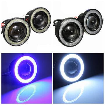 2 STKS 3 Inch Projector LED Mistlampen Angel Eyes met Blauw / Wit Halo Ring DRL Lamp 12V voor Auto Motorfiets