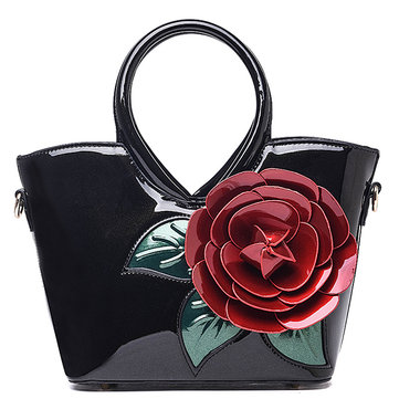 Women Casual Pearl Patent Leather Coloful Flower Sweet Lady's Handbag