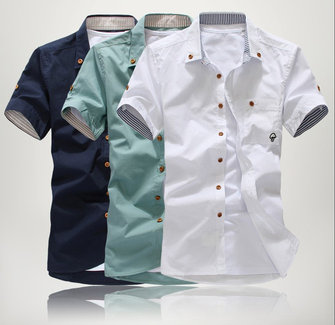 Herrenmode Cotton Pure Color Short Sleeve Shirt Sapphire